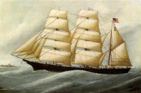 portrait of the american barque birnamwood of le havre france by edouard the younger adam
