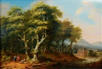 a forest with travellers by franz joseph manskirch
