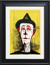 clown sur fond jaune by bernard buffet