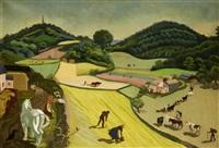a country landscape with farm by anna katrina zinkeisen