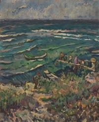 shoreline with figures by traian cornescu