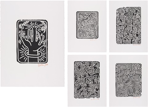 stones complete portfolio of 5 works by keith haring