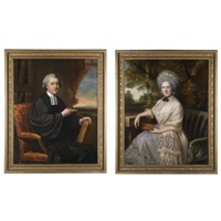 portrait of dr henry peckwell (+ portrait of his wife isabella blossett; pair) by john russell
