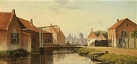 villagers along a waterway in a sunlit dutch town by c. hofkamp