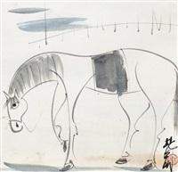 瘦马 镜心 设色纸本 (horse) by lin fengmian