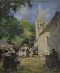 scene de village by emile joseph jules simon