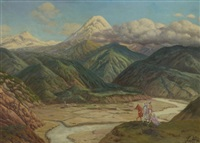 paysage du caucase by piotr livoff ivanovitch
