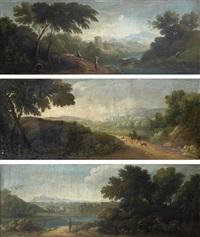 paysage animé de bergers, cavalier dans un paysage et paysans dans un paysage de rivière (3 works) by paolo anesi