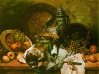 a still life with poultry, apples and grapes in a basket by leo van aken