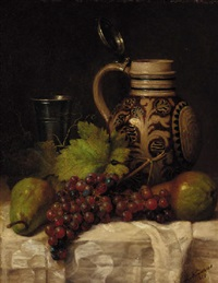 grapes, pears, a tankard and a pitcher on a draped table by joseph nauwens