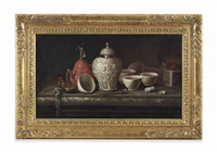 still life of cups, a jar and boxes on a marble ledge by pieter gerritsz van roestraten