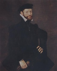 a portrait of a bearded gentleman wearing a black coat, holding goves in his right hand by william key