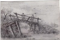 two figures fishing from a bridge over a stream by maerten fransz van der hulst