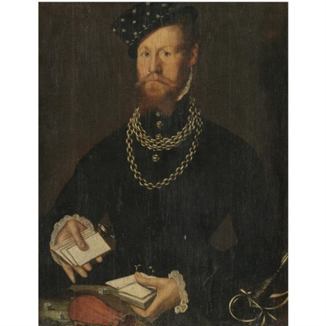 portrait of a gentleman half length wearing black and holding a pack of cards by steven van der meulen