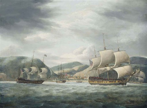 an east indiamen lying at anchor off the island of st helena with other east indiamen getting underway by thomas luny
