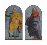 saint peter; saint paul (pair) by sir peter paul rubens