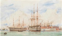h.m.s. victory and h.m.s. duke of wellington in portsmouth harbour with an indian troopship lying off the semaphore tower by william edward atkins