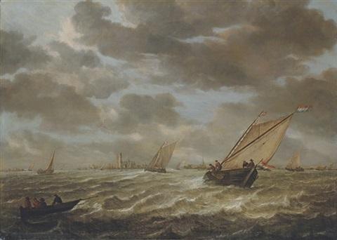 shipping on the maas with a view of rotterdam beyond by abraham van beyeren