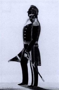naval officer wearing uniform, holding his cocked hat, his sword by his side by samuel metford