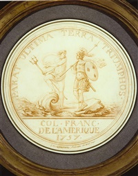 neptune and a french warrior approaching shore on a shell vessel : design for a medal by charles norbert roëttiers