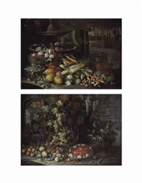flowers, fruit, and vegetables, with morels and other mushrooms beside a fountain in a villa garden (+ grapes and other fruit and vegetables...; pair) by francesco della questa
