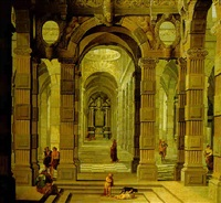 the interior of a baroque cathedral with a friar and peasants by cornelius van poelenburg and bartholomeus van bassen
