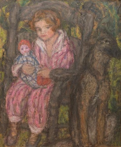 fillette sa poupée dans les bras by edmond françois aman jean