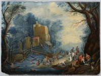 two landscapes with figural staffage (2 works) by anonymous-flemish (18)