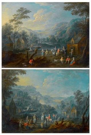 cavaliers et paysans dans des paysages de rivière (pair) by adrian fransz boudewijns and pieter bout