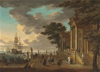a capriccio view with elegant figures by a classical building with shipping beyond by johann georg stuhr