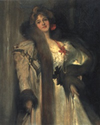 elegante dame in abendrobe by hal (henry william lowe) hurst