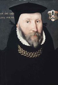 portrait of a gentleman traditionally identified as sir thomas coleshill (d.1595), bust-length, in a black coat and hat, with a gold chain... by british school (16)