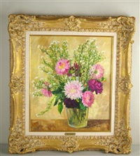 floral bouquet still life verso with label of wally findlay galleries by marie-lucie nessi-valtat