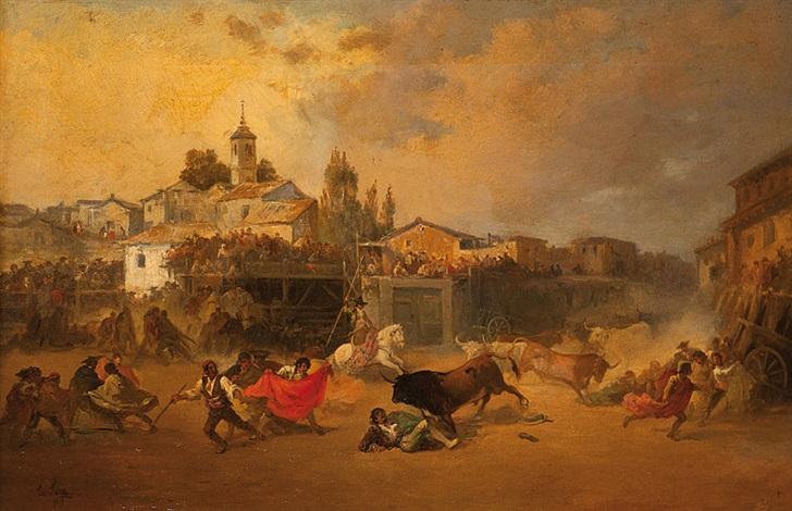 la cogida en la plaza de toros del pueblo by eugenio lucas velázquez