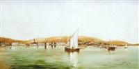 paisaje costero con barcos de vela by agustin otermin y garcia bustamante