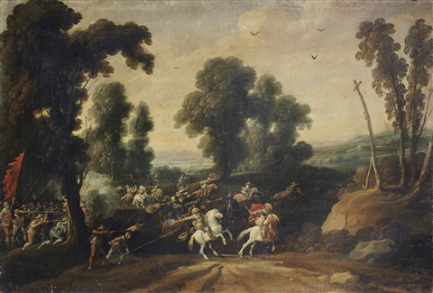 a cavalry skirmish before an extensive landscape by jan wildens