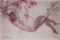 farniente au hamac fleuri by eugene lelievre