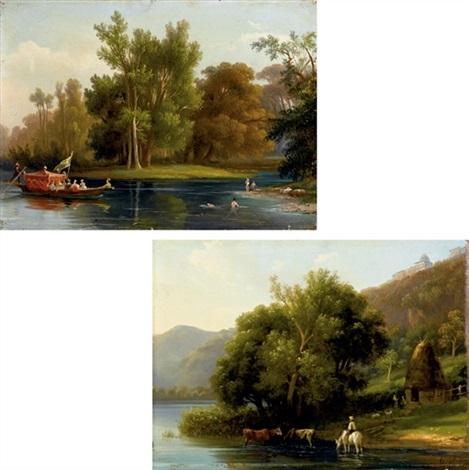 paesaggio fluviale paesaggio boscoso 2 works by massimo dazeglio