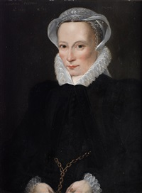 portrait of johana peeters, in a black dress with a lace cap and ruff by willem key