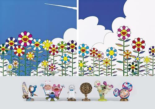 flower (3 works) by takashi murakami