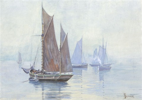 fishing boats the thames by alfred thompson bricher