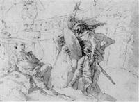 ubaldo and guelfo releasing rinaldo from enchantment by giustino menescardi