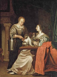 a lady and her maid in an interior by frans van mieris