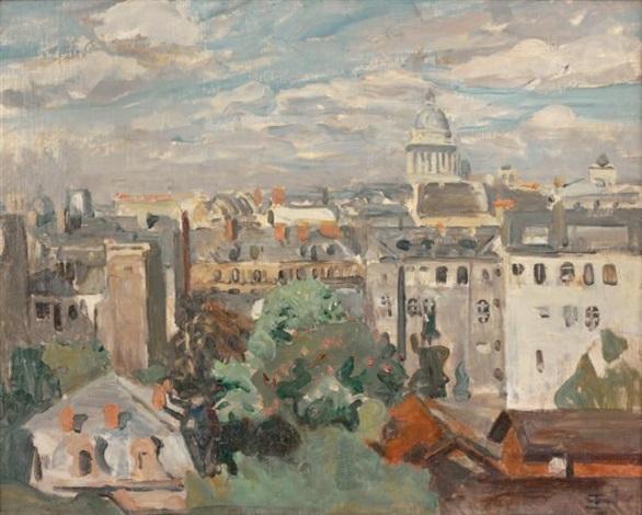 vue des toits de paris depuis latelier de lartiste rue cassini by lucien simon