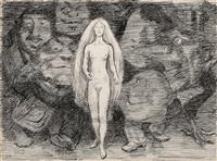 naken kvinne og menn som troll by erik theodor werenskiold