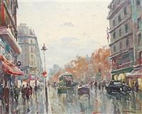 busy street scene by henri renard