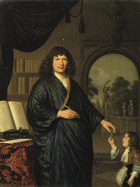 portrait of a gentleman, in a japansche rok, standing in a library, giving a messenger a letter by pieter cornelisz van slingeland
