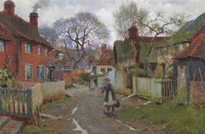 village scene by blandford fletcher