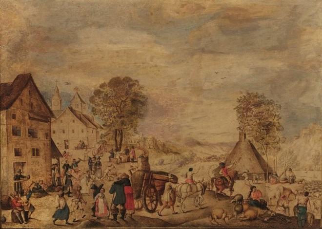 deux scénes de village pair by hans bol