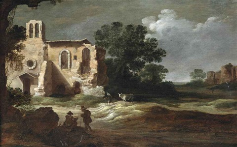an italianate landscape with figures by classical ruins by charles cornelisz de hooch